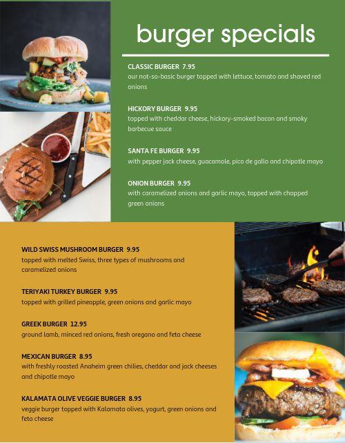 Grilled Burger Specials Menu
