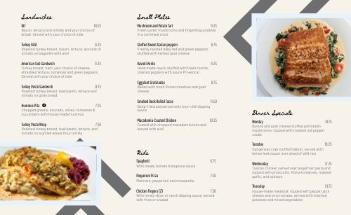 Small Town Cafe Takeout Menu