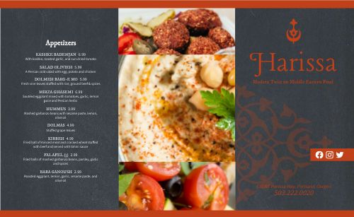 Gourmet Middle Eastern Takeout Menu