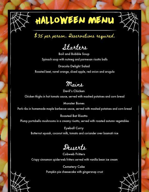Halloween Candy Corn Menu