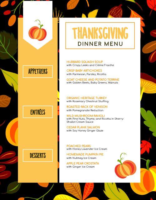 Pumpkin Thanksgiving Menu