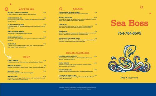 Seafood Fish Takeout Menu