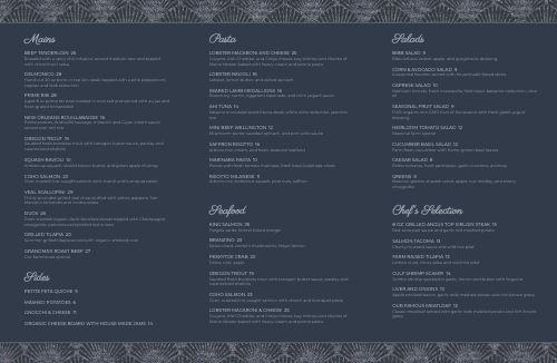 Aqua Fine Dining Folded Menu