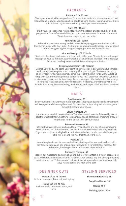 Blossoms Spa Menu