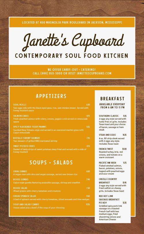 Soul Food Kitchen Menu