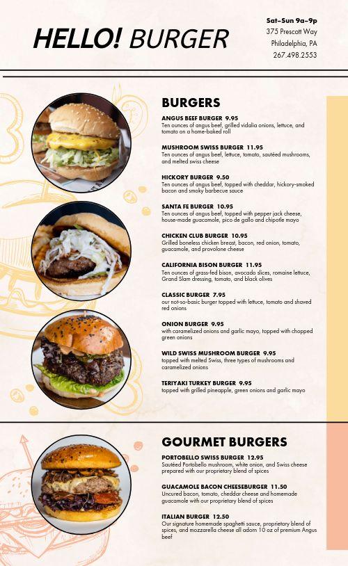 Photos Burger Menu