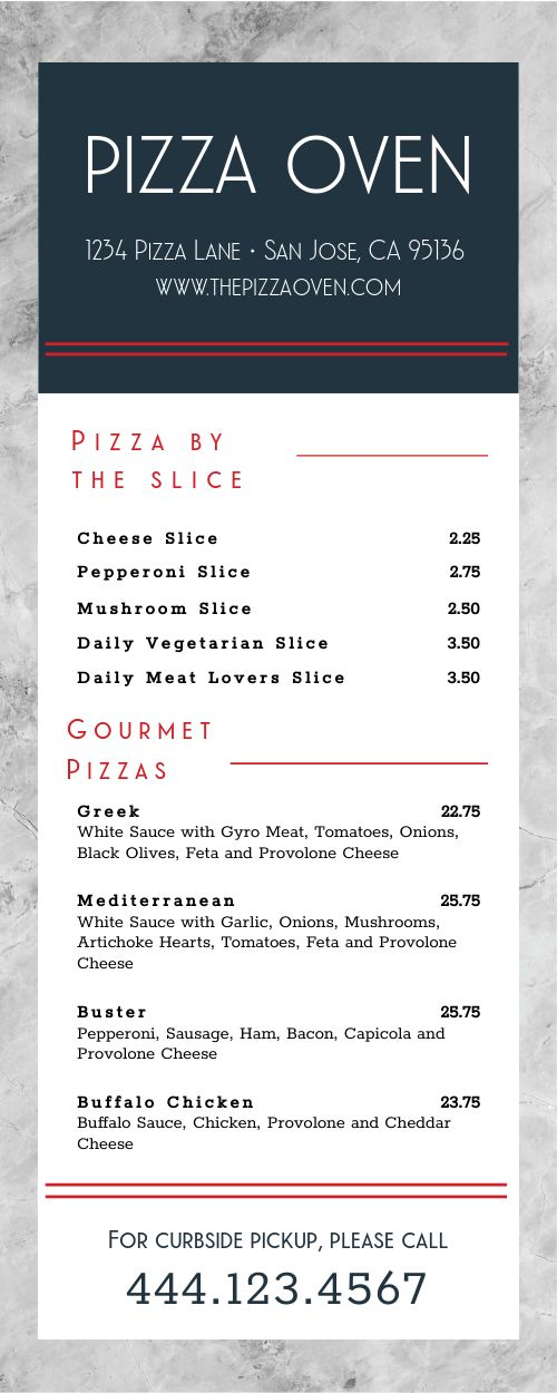 Special Delivery Takeout Menu