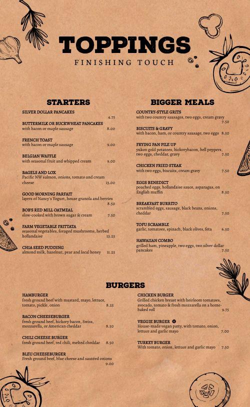 Cork Diner Menu