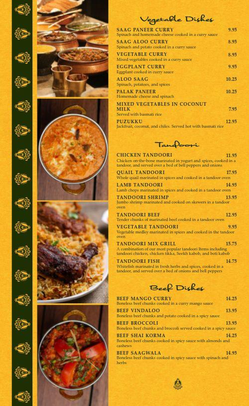 Classic Indian Cafe Menu
