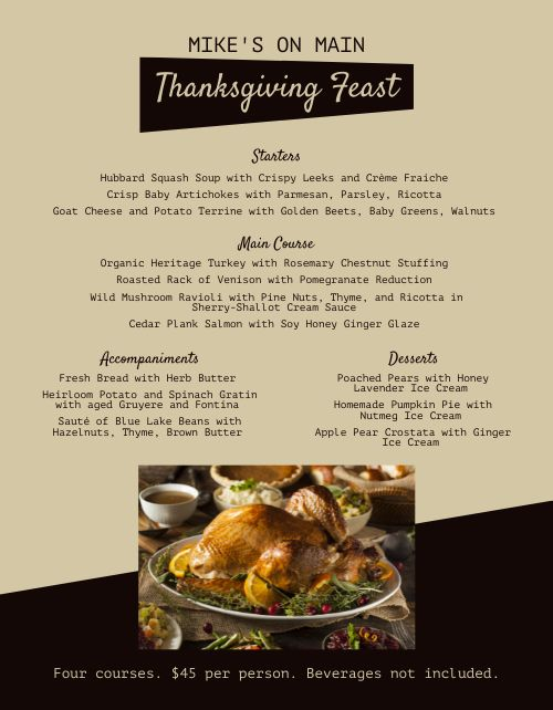 Thanksgiving Family Feast Menu