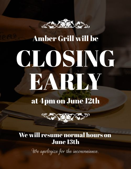 Closing Early Announcement