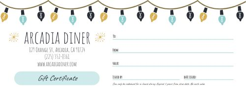Holiday Diner Gift Certificate