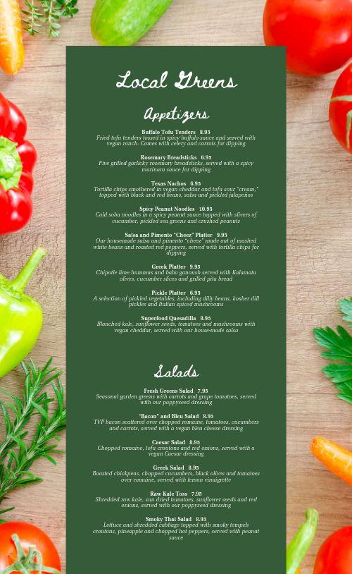 Vegetable Vegan Menu