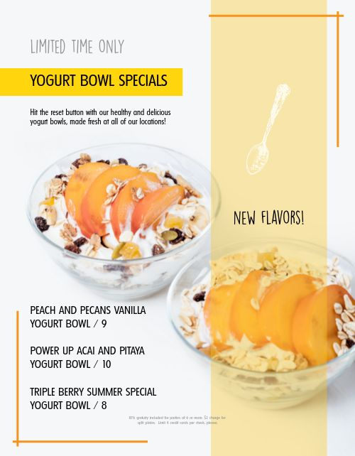 Breakfast Yogurt Menu