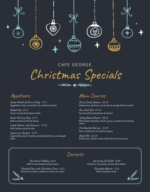 Cafe Christmas Menu