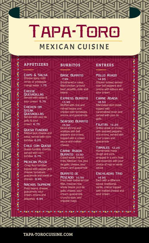 Customizable Mexican Menu