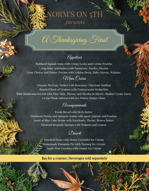 Fresh Thanksgiving Menu