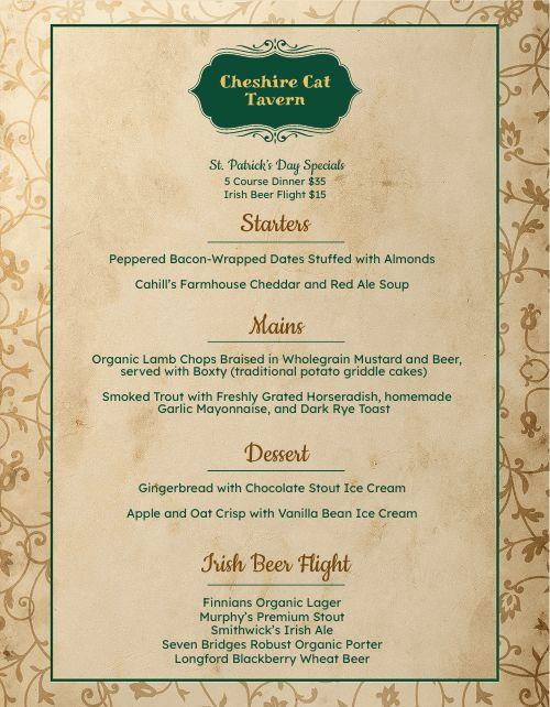 St Patricks Day Tavern Menu