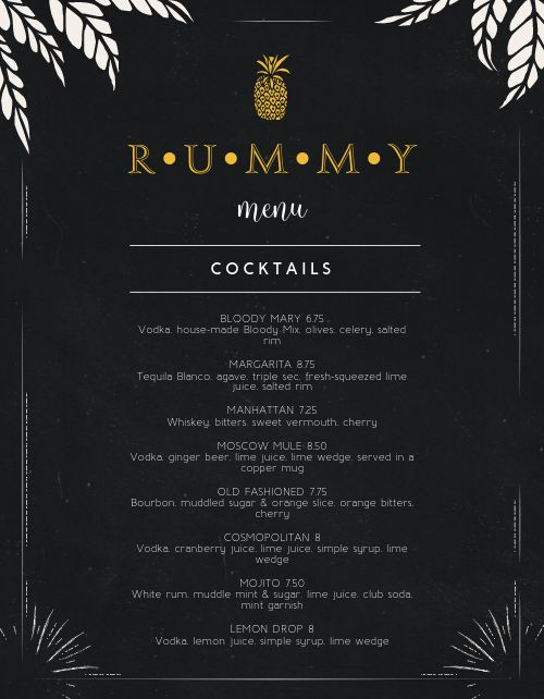 Mixed Drink Bar Menu