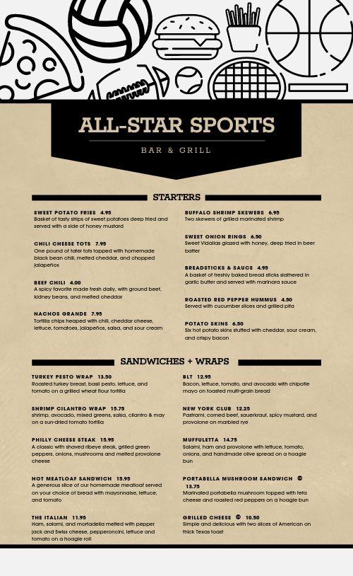 Sample Sports Bar Menu