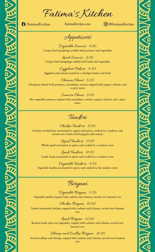 Simple Indian Menu Sample