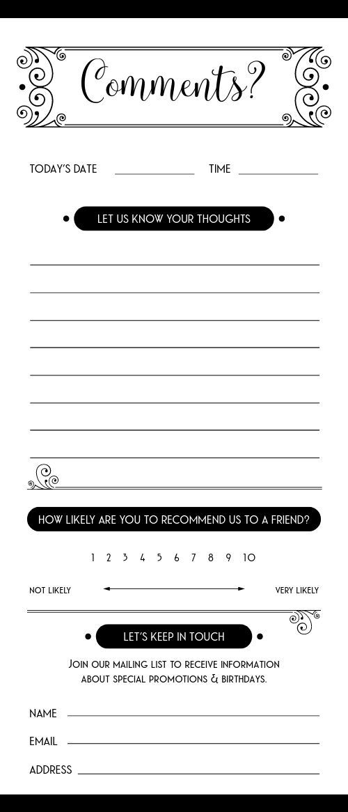 Recommendation Comment Card