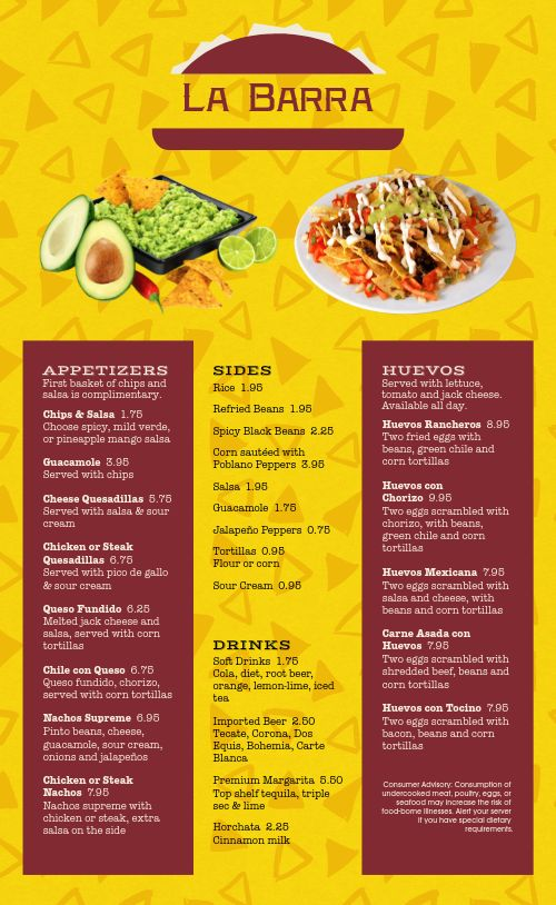 Chips Mexican Menu
