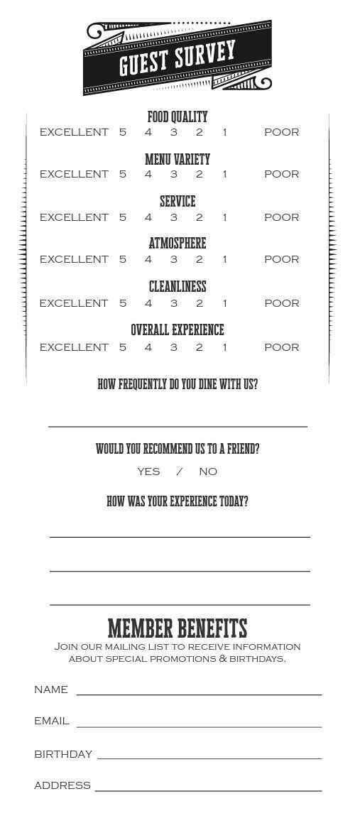 Pub Comment Card