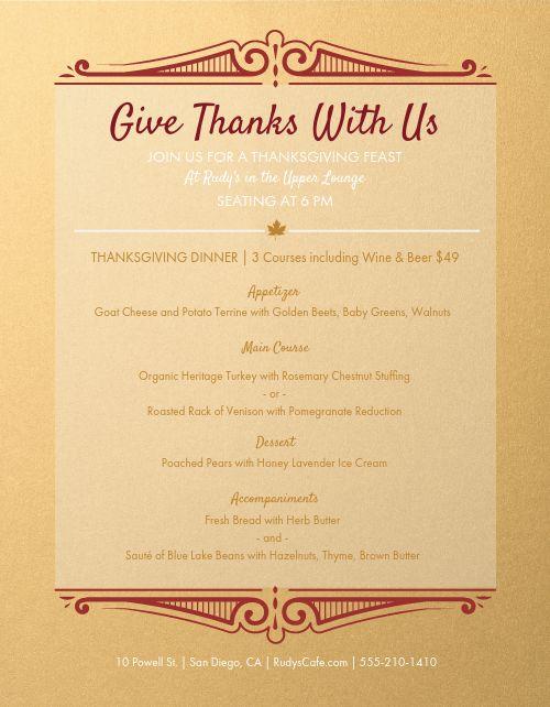 Thanksgiving Prix Fixe Menu