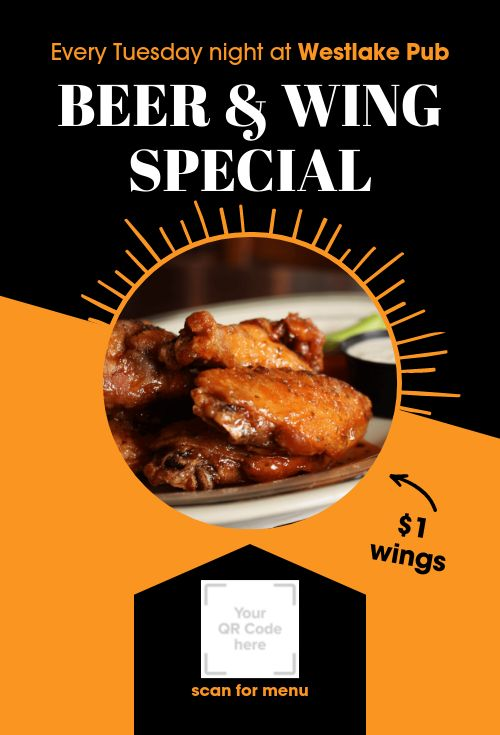 Beer and Wings Table Tent