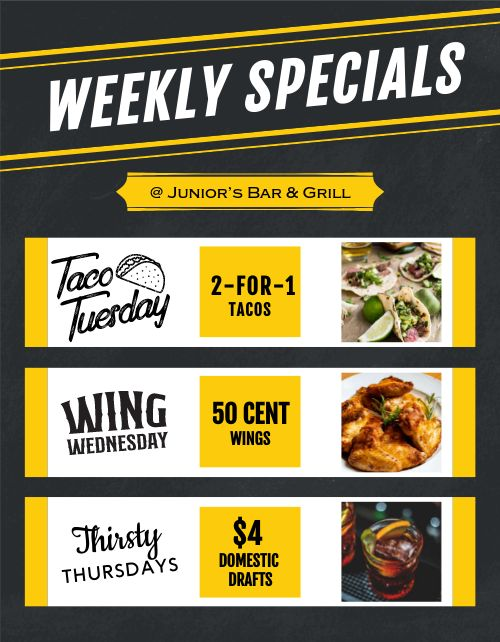 Weekly Specials Sign