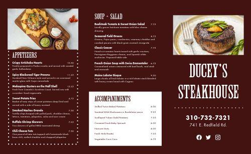 Elegant Steakhouse Takeout Menu