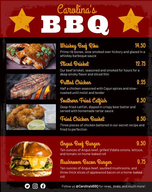 BBQ Food Truck Menu Poster