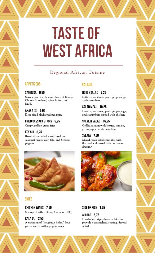 Example African Menu