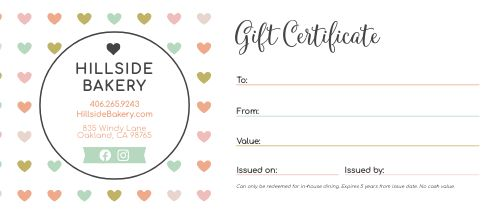 Valentines Hearts Gift Certificate