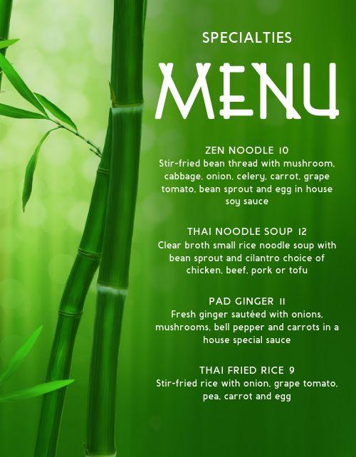 Specialty Thai Menu