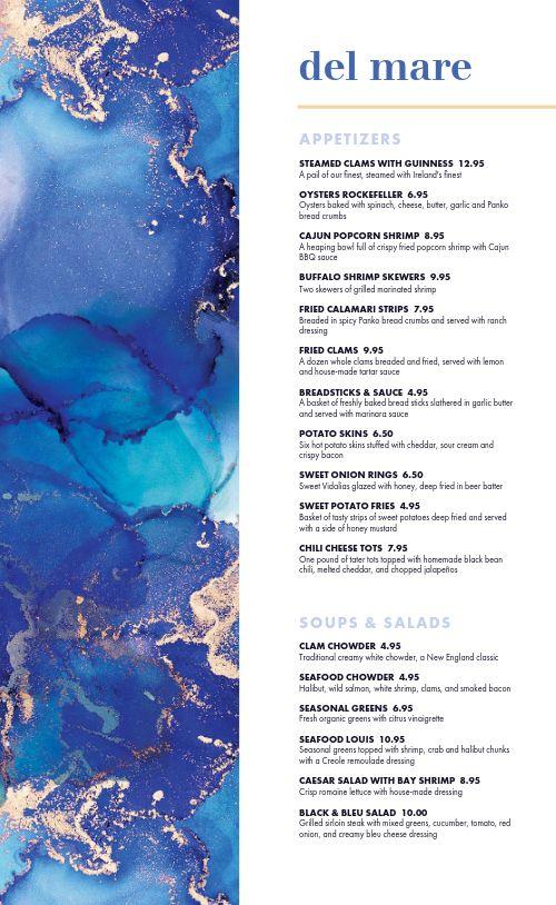 Artsy Seafood Menu