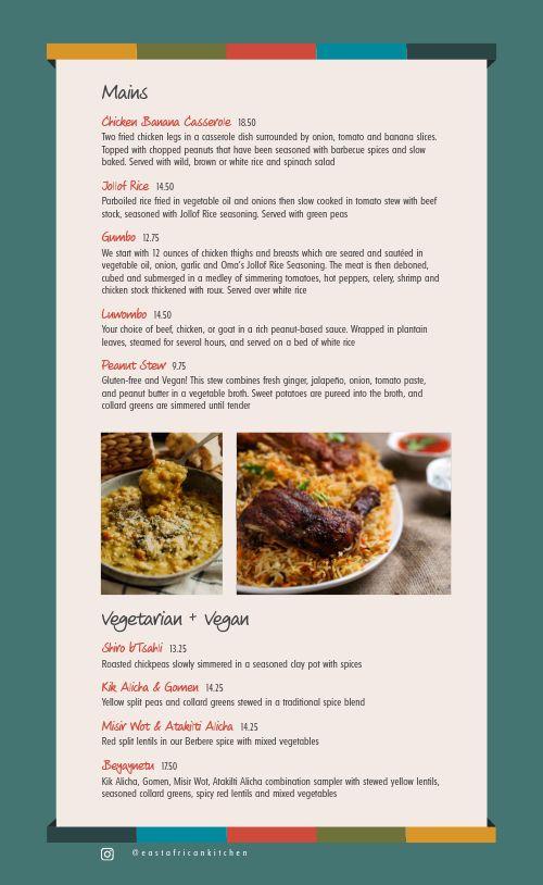 African Restaurant Menu Example