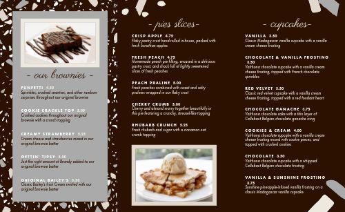 Chocolate Dessert Folded Menu