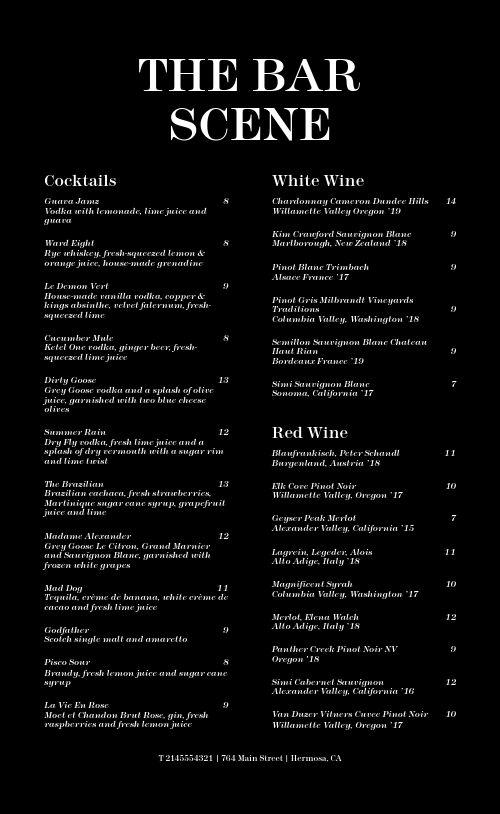 Simple Bar Menu Sample