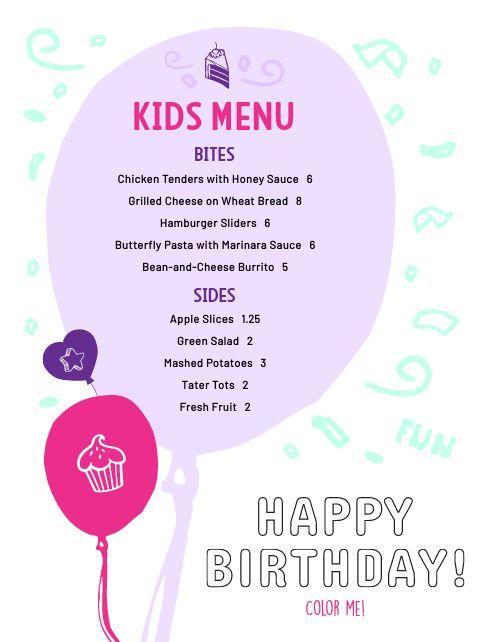 Birthday Kids Menu