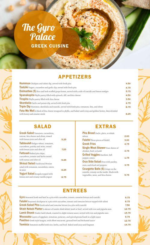 Greek Cuisine Menu