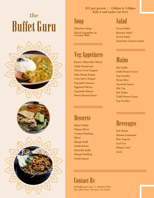 Buffet Menu Sample