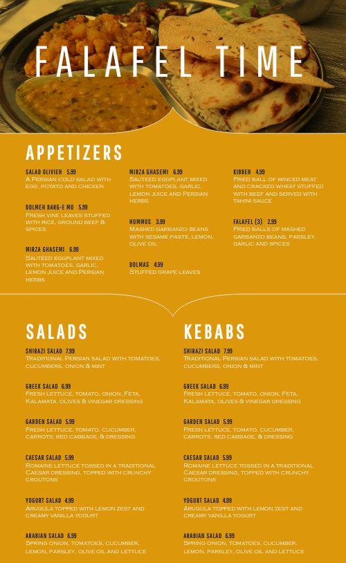 Falafel Middle Eastern Menu