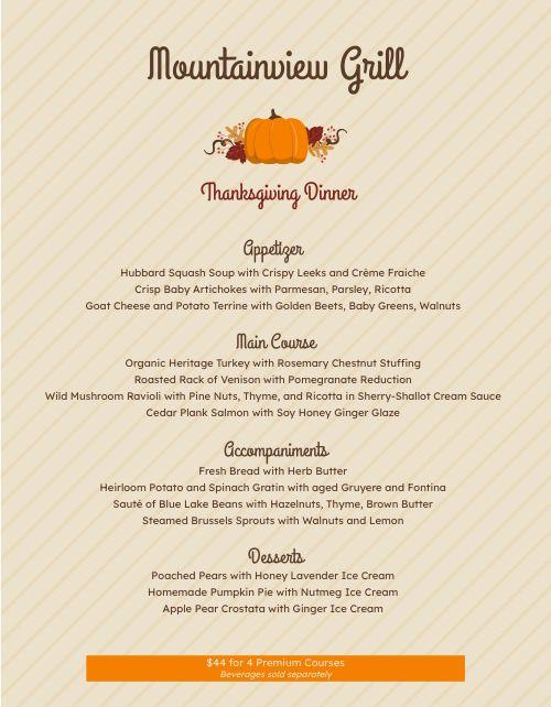 Plain Thanksgiving Menu
