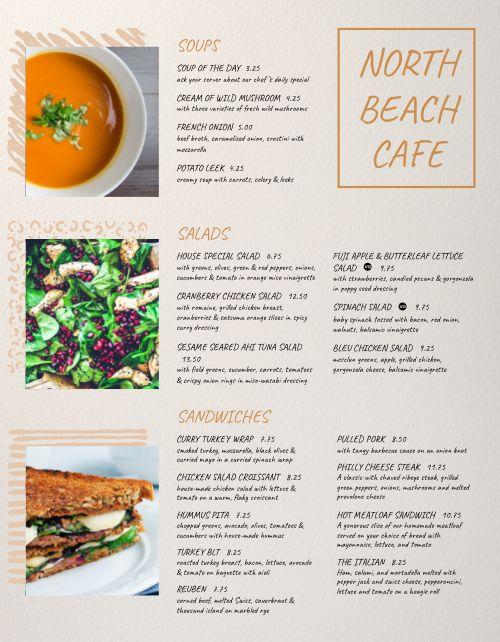 Family Beach Cafe Menu