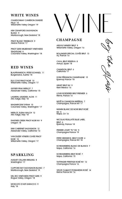 Wine List Menu Sample