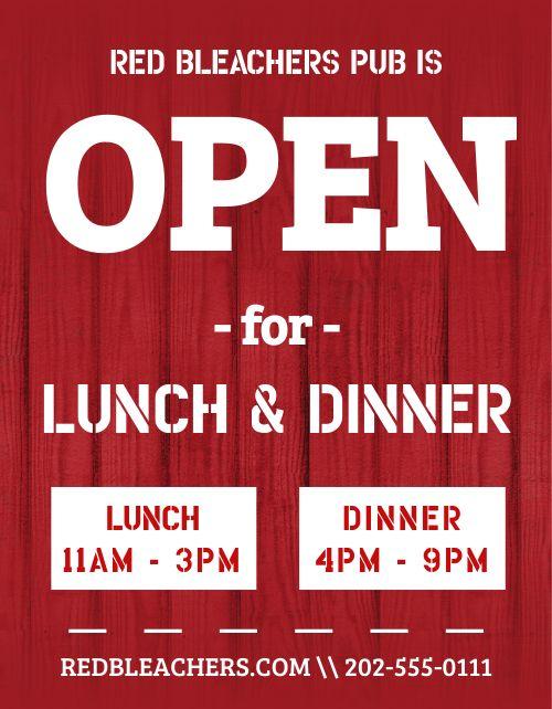 Open Dinner Flyer