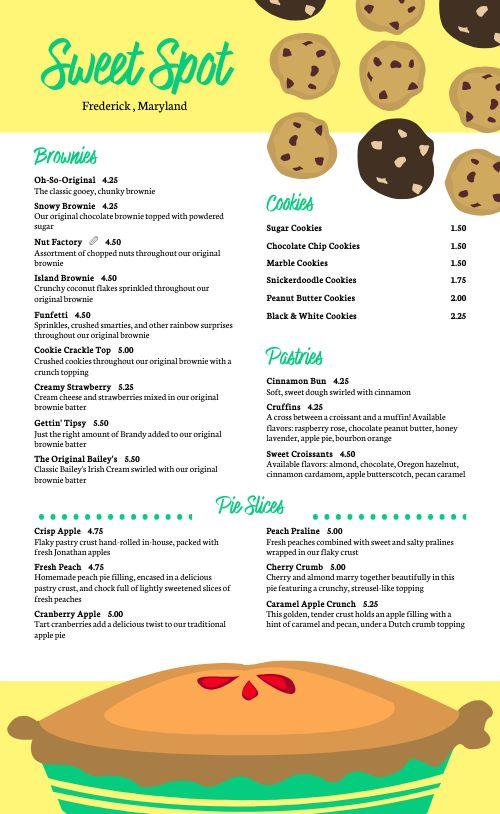 Cookies Dessert Menu