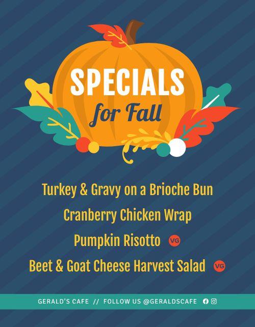 Fall Specials Sign
